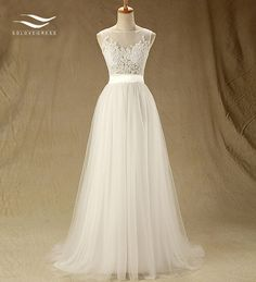 Cheap wedding dress, Buy Quality bridal gown directly from China real photo Suppliers: Tulle Floor-Length A-line O-Neck Wedding dress with Sash Sleeveless Lace and Button Bridal Gown Custom made Real Photos SL-W111