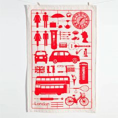 Airfix London Tea Towel (Dish Cloth) Red | Victoria Eggs. Want.