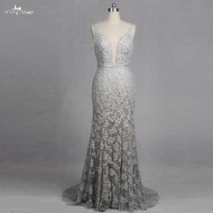 Cheap mermaid wedding dresses, Buy Quality silver wedding dresses directly from China wedding dress lace Suppliers: RSW1266 V-Neck Mermaid Wedding Dresses Lace Appliques Backless Glitter Silver Wedding Dresses