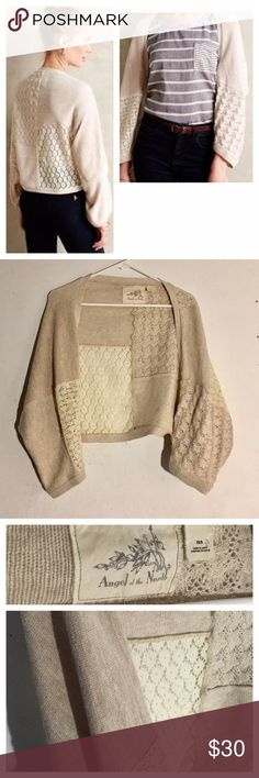 Anthropologie Angel of the North Patch Lace Shrug Size: XS/small // cream/ivory (a little pink tint) shrug cardigan from Angel of the North, sold at Anthropologie • features different types of lace and crochet • has some metallic threads • sleeves can be adjusted with buttons as shown  • like new Anthropologie Sweaters Shrugs & Ponchos