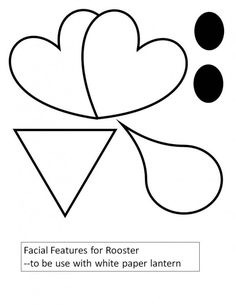 Printable pattern -- rooster face color and put on white paper lantern  fun for kids or decorate for farm theme