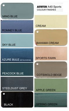 This is my first trial to compile a chart of stock colours available for the Austin A40 Sports. Not all of them were available throughout the whole production span. Any input is welcomed