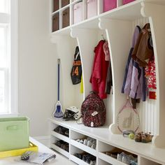 Mudroom Built Ins Design,  shoe pull out drawers,  basket  spaces with additional coat hooks