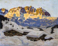 Alfons Walde (Austrian, 1891-1958), Gehöft mit Wildem Kaiser [Homestead with the Wildem Kaiser]. Oil on cardboard, 44 x 55.8 cm.
