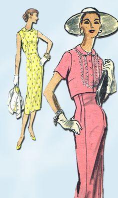 1950s Vintage 1956 Vogue Pattern 8847 Misses' Wiggle Dress & Jacket Size 16