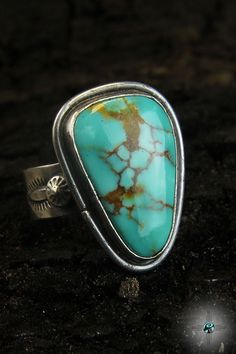 Beautiful Royston Turquoise Navajo Sterling Silver Ring by Bryan Sanchez - Turquoise Skies