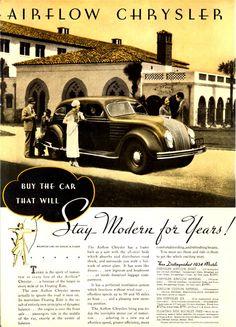DeSoto and Chrysler Airflow car Car Advertising, Ads, Car Holster, Chrysler Airflow, Dodge Models, Car Brochure, Chrysler Imperial, Grand Caravan, Truck Design