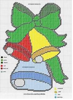 Plastic Canvas Ornaments, Plastic Canvas Crafts, Plastic Canvas Patterns, Christmas Wall Hangings, Plastic Canvas Christmas, Christmas Bells, Christmas Images, Christmas Stuff, Christmas Ornaments