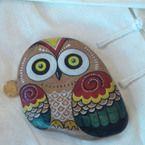 精制猫头鹰  创意手绘石头