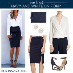 Navy and White Outfit inspiration Business Professional Outfits, Business Casual Outfits, Office Outfits, Work Outfits, Capsule Wardrobe Casual, Work Wardrobe, Summer Office, Catholic School, Distressed Skinny Jeans
