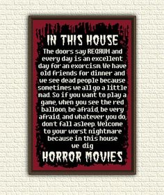 Horror Movies House - Cross Stitch Pattern PDF - In This House We Dig Horror - Halloween Macabre Goth Geeky Nerdy Counted Chart - : In This House We Dig Horror Movies Cross Stitch Pattern pdf