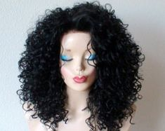 Durable Heat resistant synthetic wig for dail Black Curly Wig, Curly Wigs, Orange Ombre, Ombre Color, Wig Styles, Curly Hair Styles, Colored Wigs, Rockn Roll, Hair Weft