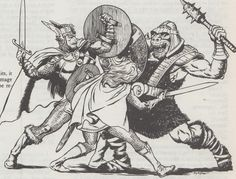 m Fighter Plate Helm Shield Sword f Fighter Chain Shield Sword vs Orc darkvision view Old school RPG art