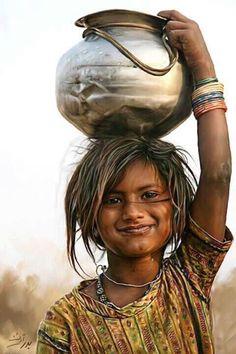 Abstract landscape photography galleries 64 ideas for 2019 Indian Women Painting, Indian Art Paintings, Pencil Portrait, Portrait Art, Art Sketches, Art Drawings, Potrait Painting, India Painting, Village Photography