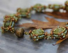 Hand Beaded with Natural Turquoise and seed beads by pjlacasse