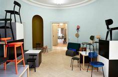 Please Wait To Be Seated open a pastel painted showroom in Copenhagen. www.despoke.com