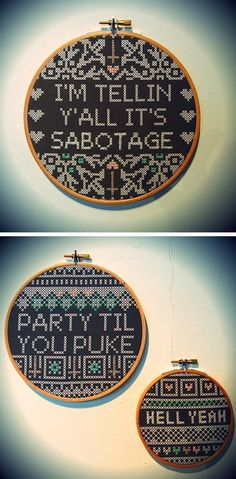 Beastie Boys - Sabotage, Andrew W.K - Party Til You Puke and Hell Yeah digital cross stitch/hand embroidered cross stitch pieces for my final degree show. More info available from www.kateblandford.com