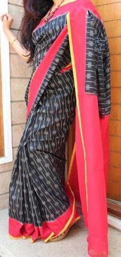 EBONY BLACK WITH RED BORDER HANDLOOM IKKAT COTTON SAREE