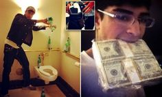 Is this the most spoiled kid in the U.S. or is it just a hoax? Teen posts bragging Instagram photos of his wads of cash, his SIX iPhones and filling his toilet with San Pellegrino