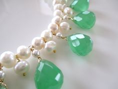 Green Chalcedony Pearl Bib Necklace Gold Green White by 10west