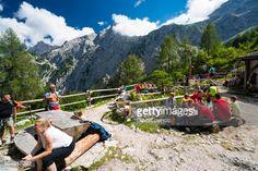 Okreselj, Slovenia - August 14, 2016: View of hikers sitting... #solcava: Okreselj, Slovenia - August 14, 2016: View of hikers… #solcava