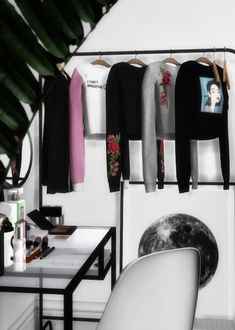 """novvvas: """"VELVET HANGING CLOTHS RECOLORS• 3 objects: Hoodie (33 swatches), Long Shirt (40 swatches), Shirt (33 swatches) • Need to download meshes HERE • DOWNLOAD • Thanks to @s-imagination for..."""