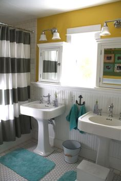 Bright Yellow Paint Colors For Your Home - main Bathroom ideas color palettes Bathroom Inspiration, Bathroom Ideas, Bathroom Updates, Kid Bathrooms, White Bathrooms, Bathroom Makeovers, Design Bathroom, Home Interior, Interior Design