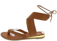 MAGGIE4 TAN THONG WRAP AROUND GOLD MIDSOLE SANDAL ONLY $10.88
