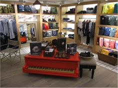 IndustryDenim3 display - I love everything about this display: lighting, color, textures, funky piano.