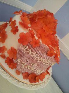 Coral little wedding cake