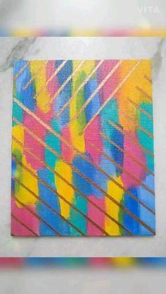 Kids Canvas Art, Small Canvas Paintings, Kids Abstract Art, Canvas Ideas Kids, Acrylic Painting Canvas, Simple Canvas Art, Abstract Painting Easy, Tape Painting, Rainbow Painting