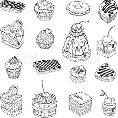 Vector of 'Set of cute cake Contour illustration' on Colourbox