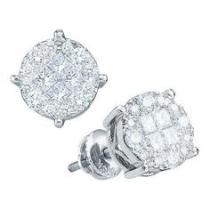14k White Gold 1.0Ctw Princess Round Diamond Ladies Soliel Earrings