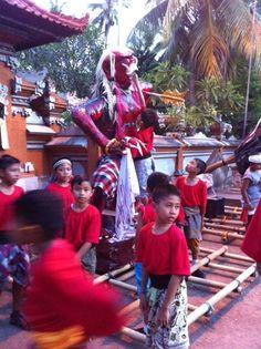 Ogoh-ogoh parade by local kids; one day before Nyepi at Alila Manggis - Bali