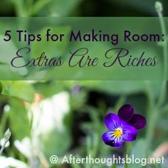 Afterthoughts: Five Tips for Making Room:Extras are Riches*
