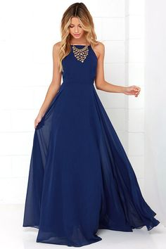 Dark blue chiffon round neck long prom dress evening dress, SRS, This dress could be custom made, there are no extra cost to do custom size and color. Prom Dresses 2015, Prom Dresses Blue, Pretty Dresses, Beautiful Dresses, Evening Dresses, Maxi Dresses, Dress Prom, Fashion Dresses, Dress Formal