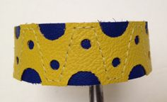 Purple and yellow leather bracelet by ChristyKeysCreations on Etsy, $20.00