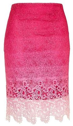 **Dip Dye Lace Pencil Skirt by Jovonna - New In Brands - New In - Topshop Pink Lace Skirt, Topshop Skirts, Dip Dye, Topshop Outfit, Streetwear Brands, Luxury Fashion, Polyvore, Clothes, Outfits