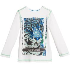 Boys off-white soft cotton jersey t-shirt by Roberto Cavalli with an image of leopard on the front with cool metallic print. It features the designer's logo and has contrasting green stitching on the sleeves and hem. <br /> <ul> <li>94% cotton, 6% elastane (soft, stretch jersey)</li> <li>Machine wash (30*C)</li> </ul>
