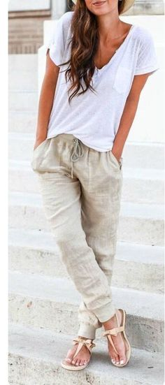 **** Stitch Fix**** In Love with this gorgeous laid back look. Beige relaxed fit drawstring linen pant and plain white tee. Love the bow tie nude sandal!! Get great looks just like these from Stitch Fix today! Stitch Fix Fall, Stitch Fix Spring, Stitch Fix Summer. Stitch Fix Spring Summer fashion. Resort Wear #StitchFix #Affiliate #StitchFixInfluencer