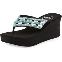 Yellow Box Neola Crystal Wedge Thong Sandal ($67) ❤ liked on Polyvore featuring shoes, sandals, blue, blue platform sandals, slip on sandals, platform wedge sandals, wedge heel sandals and thong sandals