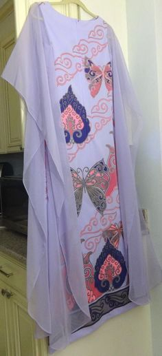 Vintage 70s Alfred Shaheen Asian Angel Slv Dress Kimono Floral Maxi Size 8 #AlfredShaheen #Maxi