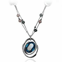 Charlee Cooper Blue Oval Crystal Rhinestone Pendant Necklace