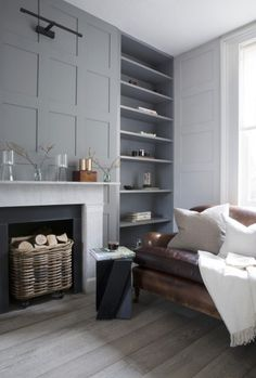 grey shelves and wall panelling by cassandra ellis interior design - perfect set up for fireplace in family room. Home Living Room, Living Room Designs, Living Room Decor, Living Spaces, Apartment Living, Living Room Shelving, Alcove Shelving, Living Walls, Shelving Ideas
