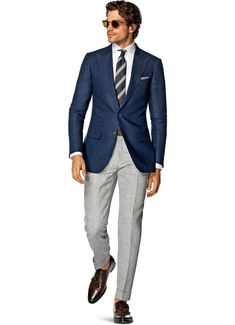Show this to baby... How classy and chic.... Love the no-socks and above-ankle cuff... Blue Jacket by Suitsupply. #menswear #ss2015