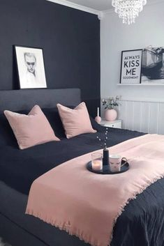 18 Ideas Dark Wallpaper Bedroom Black And White For 2019 Wallpaper Bedroom, Bedroom Diy, White Bedroom, Bedroom Makeover, Small Room Bedroom, Bedroom Colors, Bedroom Green, Blue Bedroom, Modern Bedroom