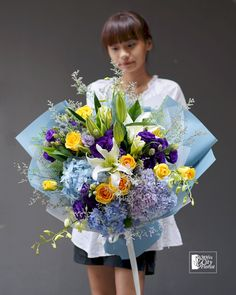 Lily Bouquet, Flower Bouquets, Flowers, White Lilies, Yellow Roses, Lilac Color, Colour, Purple Hydrangeas, Flower Delivery