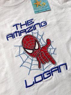 Spiderman Inspired Personalized Hero Shirt by twolittleseastars