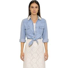 Forte Couture Women Cropped Embellished Cotton Denim Shirt (€245) ❤ liked on Polyvore featuring tops, blue, vintage tops, blue top, embellished crop top, vintage crop top and shirt tops