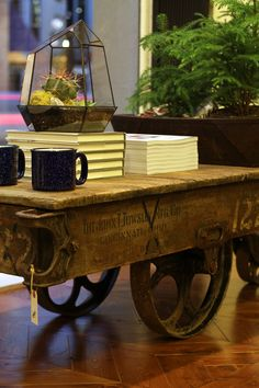 COFFEE TABLE ~ I See These At The Bouckville Flea Market Each Year And  Drool Over Them. Love The Industrial Cart / Coffee Table On Wheels!